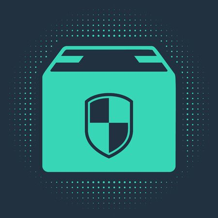 Green Delivery pack security symbol with shield icon isolated on blue background. Delivery insurance. Insured cardboard boxes beyond the shield. Abstract circle random dots. Vector Illustration Ilustração