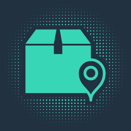 Green Location with cardboard box icon isolated on blue background. Delivery services, logistic and transportation, relocation, distribution. Abstract circle random dots. Vector Illustration