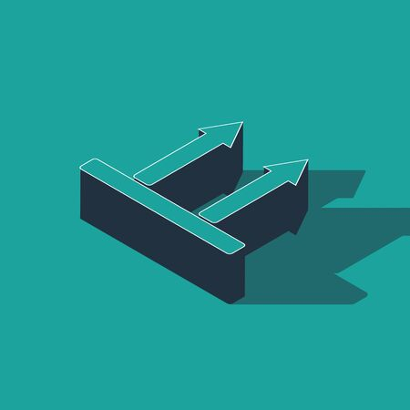 Isometric This side up icon isolated on green background. Two arrows indicating top side of packaging. Cargo handled so these arrows always point up. Vector Illustration