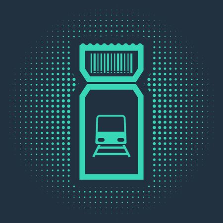 Green Train ticket icon isolated on blue background. Travel by railway. Abstract circle random dots. Vector Illustration Ilustração