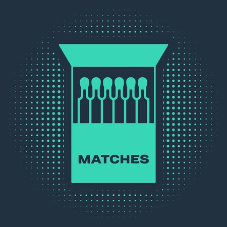 Green Open matchbox and matches icon isolated on blue background. Abstract circle random dots. Vector Illustration