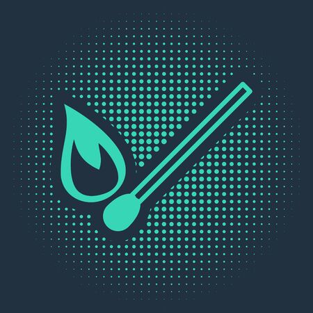 Green Burning match with fire icon isolated on blue background. Match with fire. Matches sign. Abstract circle random dots. Vector Illustration