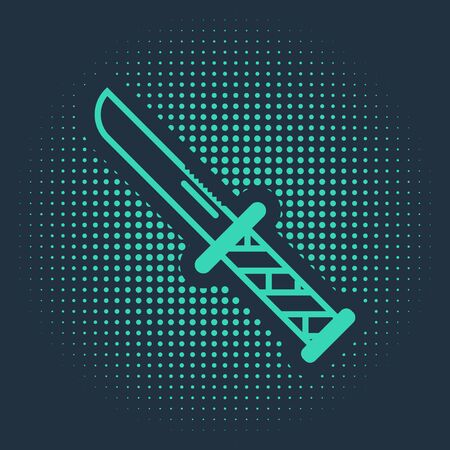 Green Military knife icon isolated on blue background. Abstract circle random dots. Vector Illustration  イラスト・ベクター素材