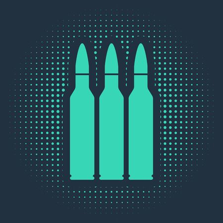 Green Bullet icon isolated on blue background. Abstract circle random dots. Vector Illustration