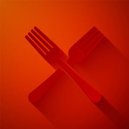 Paper cut Crossed fork icon isolated on red background. Cutlery symbol. Paper art style. Vector Illustration Stock Illustratie