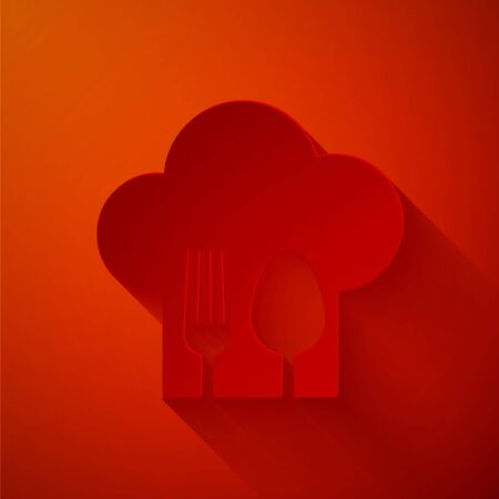 Paper cut Chef hat with fork and spoon icon isolated on red background. Cooking symbol. Restaurant menu. Cooks hat. Paper art style. Vector Illustration Illusztráció