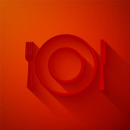 Paper cut Plate, fork and knife icon isolated on red background. Cutlery symbol. Restaurant sign. Paper art style. Vector Illustration Illusztráció