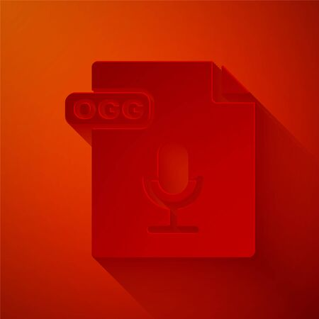 Paper cut OGG file document. Download ogg button icon isolated on red background. OGG file symbol. Paper art style. Vector Illustration 일러스트