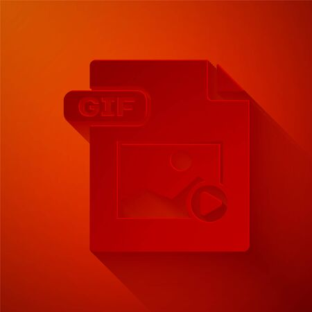 Paper cut GIF file document. Download gif button icon isolated on red background. GIF file symbol. Paper art style. Vector Illustration
