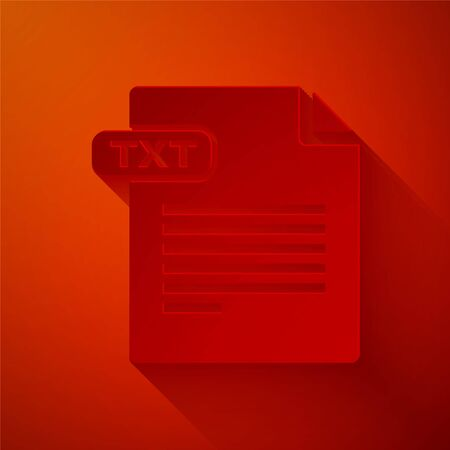 Paper cut TXT file document. Download txt button icon isolated on red background. Text file extension symbol. Paper art style. Vector Illustration 일러스트