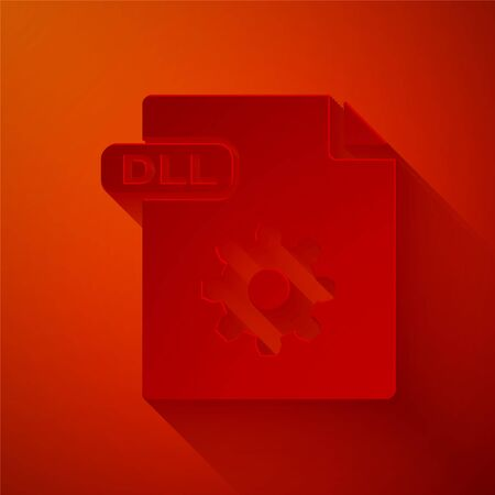 Paper cut DLL file document. Download dll button icon isolated on red background. DLL file symbol. Paper art style. Vector Illustration