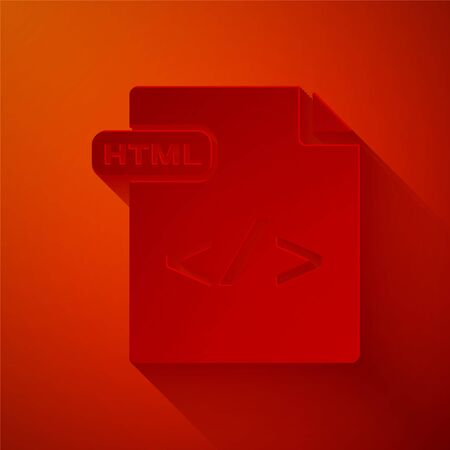 Paper cut HTML file document. Download html button icon isolated on red background. HTML file symbol. Markup language symbol. Paper art style. Vector Illustration