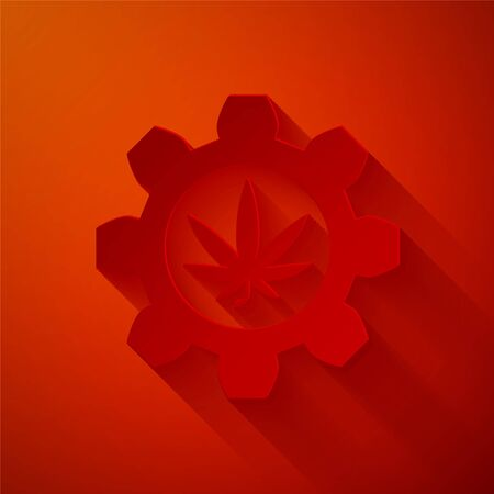 Paper cut Chemical test tube with marijuana or cannabis leaf icon isolated on red background. Research concept. Laboratory CBD oil concept. Paper art style. Vector Illustration Illustration