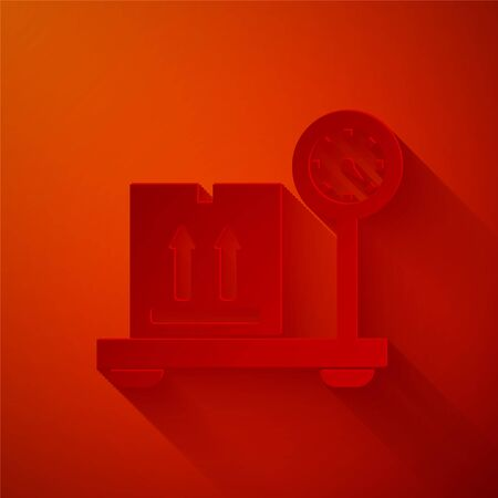 Paper cut Scale with cardboard box icon isolated on red background. Logistic and delivery. Weight of delivery package on a scale. Paper art style. Vector Illustration