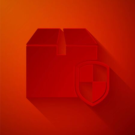 Paper cut Delivery pack security symbol with shield icon isolated on red background. Delivery insurance. Insured cardboard boxes beyond the shield. Paper art style. Vector Illustration