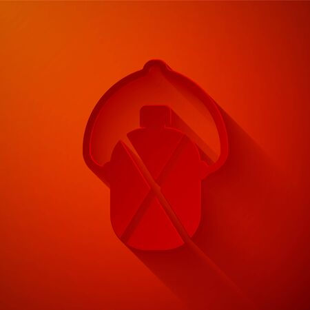 Paper cut Canteen water bottle icon isolated on red background. Tourist flask icon. Jar of water use in the campaign. Paper art style. Vector Illustration