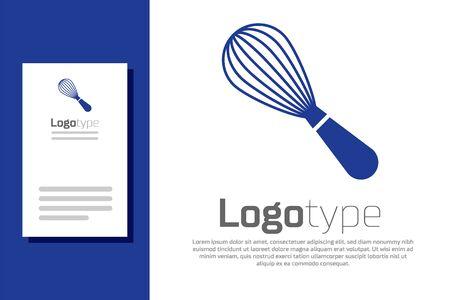 Blaue Küche Schneebesen-Symbol auf weißem Hintergrund. Kochgerät, Schneebesen. Besteck-Zeichen. Symbol für Lebensmittelmischung. Design-Vorlage-Element. Vektorillustration