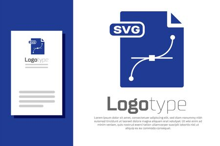 Blue SVG file document. Download svg button icon isolated on white background. SVG file symbol. Logo design template element. Vector Illustration
