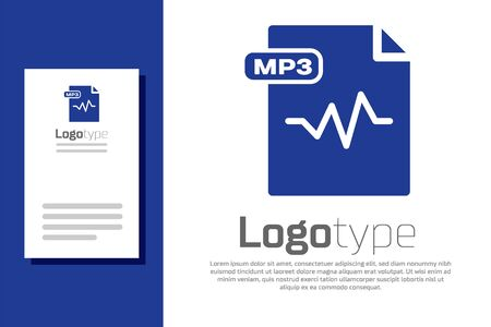 Blue MP3 file document. Download mp3 button icon isolated on white background. Mp3 music format sign. MP3 file symbol. design template element. Vector Illustration 일러스트