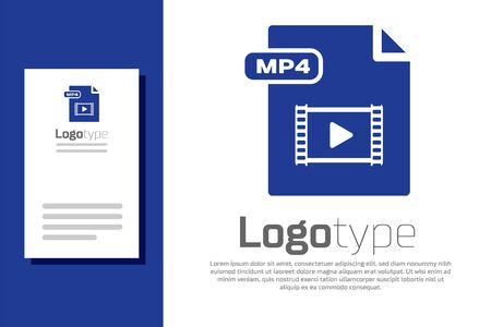 Blue MP4 file document. Download mp4 button icon isolated on white background. MP4 file symbol. design template element. Vector Illustration