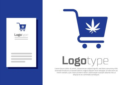 Blue Shopping cart with marijuana or cannabis leaf icon isolated on white background. Online buying. Delivery service. Supermarket basket. Logo design template element. Vector Illustration 일러스트