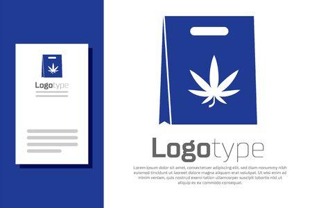 Blue Shopping paper bag of medical marijuana or cannabis leaf icon isolated on white background. Buying cannabis. Hemp symbol. Logo design template element. Vector Illustration