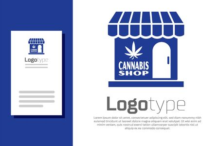 Blue Marijuana and cannabis store icon isolated on white background. Equipment and accessories for smoking, storing medical cannabis. Logo design template element. Vector Illustration