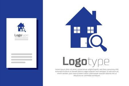 Blue Search house icon isolated on white background. Real estate symbol of a house under magnifying glass. Logo design template element. Vector Illustration Logo