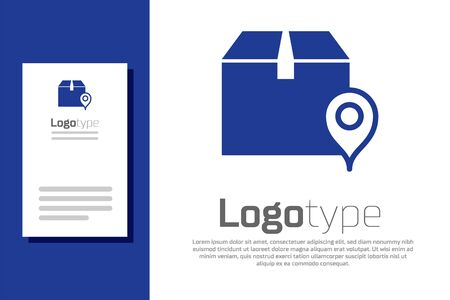 Blue Location with cardboard box icon isolated on white background. Delivery services, logistic and transportation, relocation, distribution. Logo design template element. Vector Illustration 矢量图像