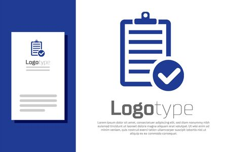 Blue Verification of delivery list clipboard and pen icon isolated on white background. Logo design template element. Vector Illustration Ilustração