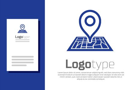 Blue Placeholder on map paper in perspective icon isolated on white background. Logo design template element. Vector Illustration Logo