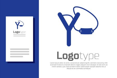 Blue Slingshot icon isolated on white background. Logo design template element. Vector Illustration Vectores