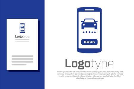 Blue Online car sharing icon isolated on white background. Online rental car service. Online booking design concept for mobile phone. Logo design template element. Vector Illustration Illustration