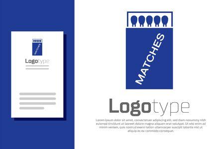 Boîte d'allumettes ouverte bleue et icône d'allumettes isolée sur fond blanc. Élément de modèle de conception de logo. Illustration vectorielle Logo