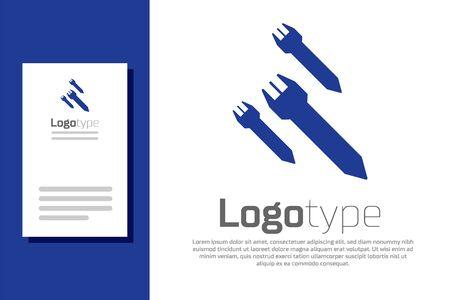 Blue Rocket icon isolated on white background. Logo design template element. Vector Illustration