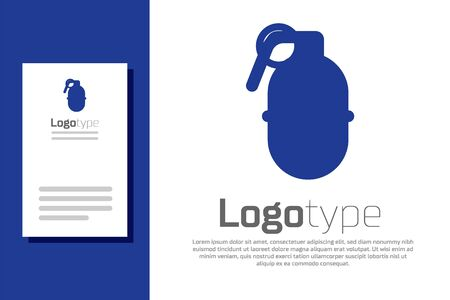 Blue Hand grenade icon isolated on white background. Bomb explosion. Logo design template element. Vector Illustration 向量圖像