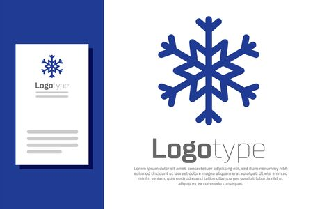 Blue Snowflake icon isolated on white background. Logo design template element. Vector Illustration