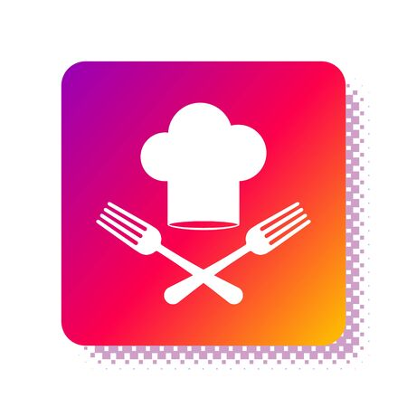 White Chef hat and crossed fork icon isolated on white background. Cooking symbol. Restaurant menu. Cooks hat. Square color button. Vector Illustration