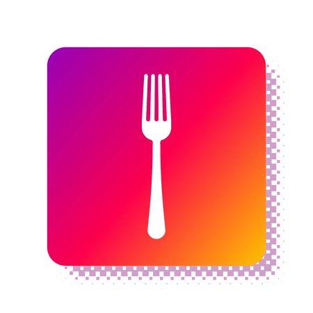 White Fork icon isolated on white background. Cutlery symbol. Square color button. Vector Illustration Illusztráció