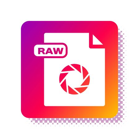 White RAW file document. Download raw button icon isolated on white background. RAW file symbol. Square color button. Vector Illustration