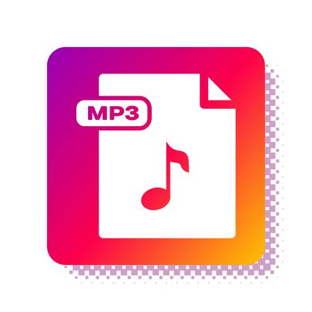 White MP3 file document. Download mp3 button icon isolated on white background. Mp3 music format sign. MP3 file symbol. Square color button. Vector Illustration 일러스트