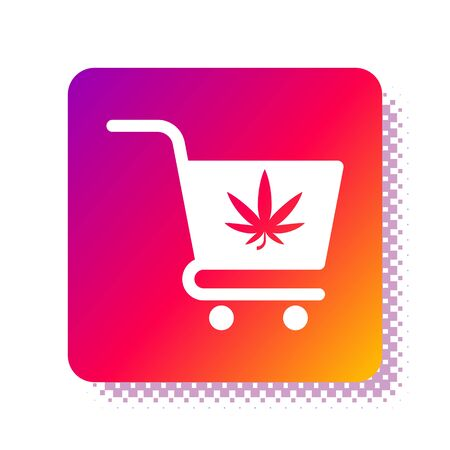 White Shopping cart with marijuana or cannabis leaf icon isolated on white background. Online buying. Delivery service. Supermarket basket. Square color button. Vector Illustration 일러스트