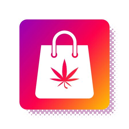 White Shopping paper bag of medical marijuana or cannabis leaf icon isolated on white background. Buying cannabis. Hemp symbol. Square color button. Vector Illustration  イラスト・ベクター素材