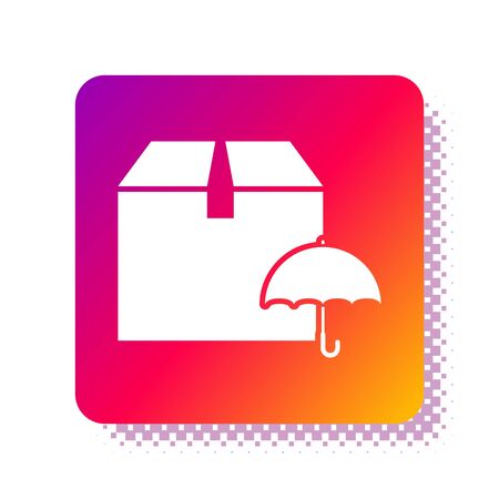 White Delivery package with umbrella symbol icon isolated on white background. Parcel cardboard box with umbrella sign. Logistic and delivery. Square color button. Vector Illustration