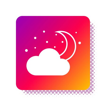 White Cloud with moon and stars icon isolated on white background. Cloudy night sign. Sleep dreams symbol. Night or bed time sign. Square color button. Vector Illustration
