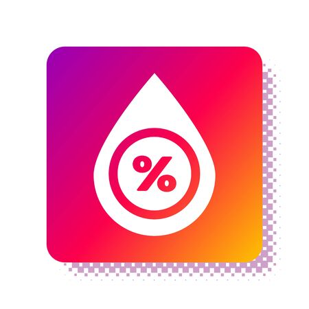 White Water drop percentage icon isolated on white background. Humidity analysis. Square color button. Vector Illustration