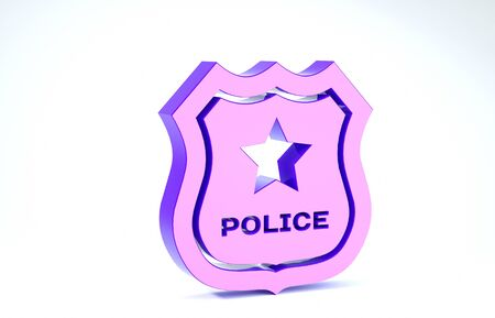 Purple Police badge icon isolated on white background. Sheriff badge sign. 3d illustration 3D render 写真素材