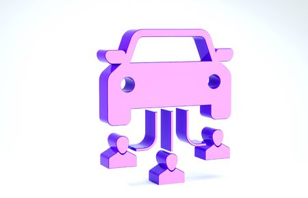 Purple Car sharing with group of people icon isolated on white background. Carsharing sign. Transport renting service concept. 3d illustration 3D render