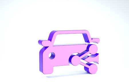 Purple Car sharing icon isolated on white background. Carsharing sign. Transport renting service concept. 3d illustration 3D render