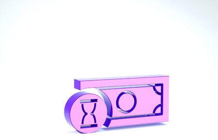Purple Fast payments icon isolated on white background. Fast money transfer payment. Financial services, fast loan, time is money, cash back concept. 3d illustration 3D render Banco de Imagens